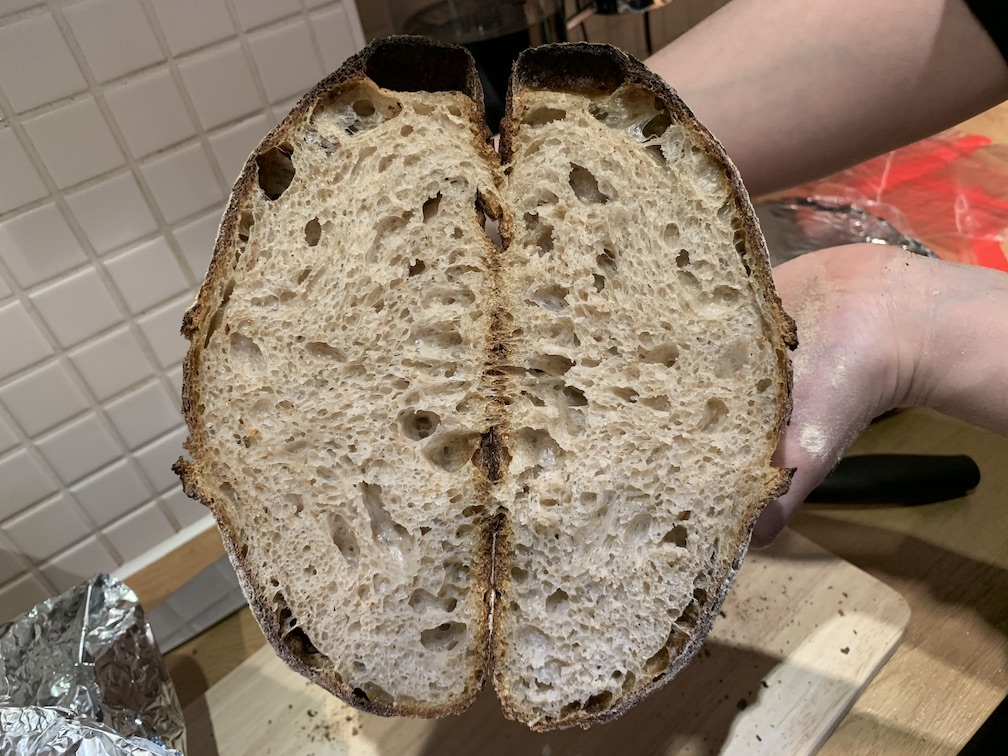A loaf cut in half to show the crumb