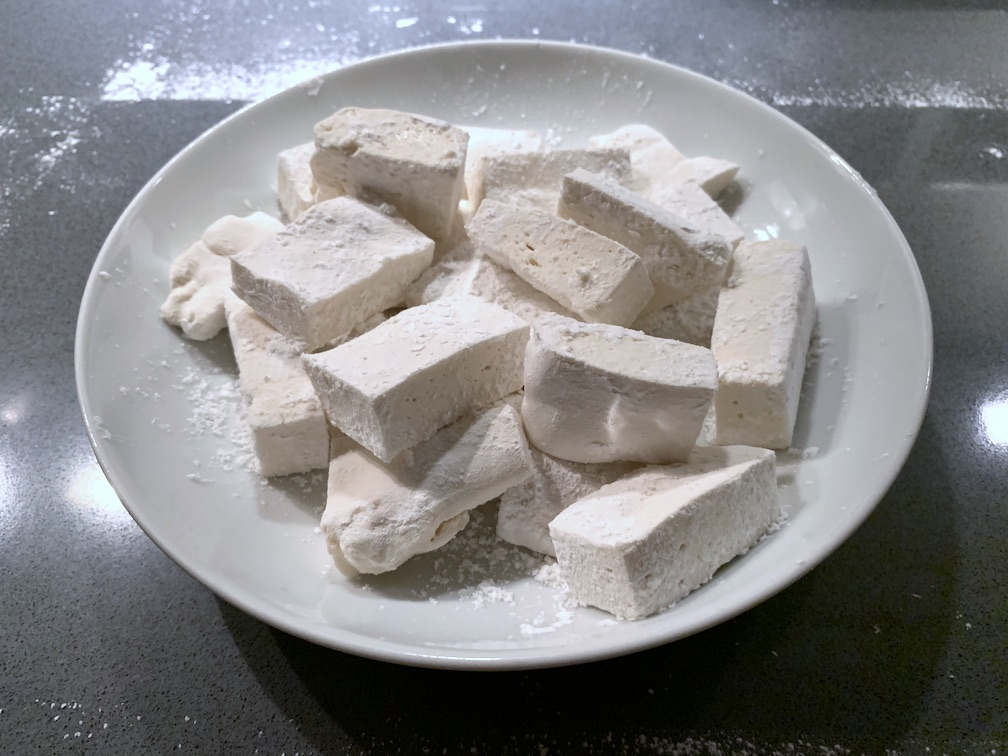 A plate of homemade marshmallows